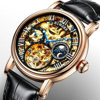 Big Dial Automatic watches men luxury brand BINGER Mechanical Watch men tourbillon Leather Strap Moon phase Sapphire Waterproof