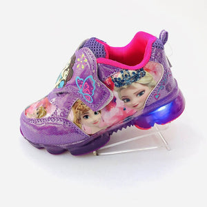 frozen girls Cartoon purple Casual Shoes  with light  elsa and Anna Snow Princess  sneakers Europe
