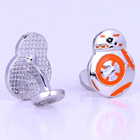 Men Shirt Cuff Links Movie starwars cufflinks High Quality Force Awakens BB8 BB-8 Droid Robot Action Figure Cute Cufflinks