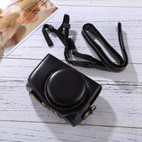 Full Body Camera PU Leather Camera Case Bag with Strap for Canon PowerShot G7 X Mark II