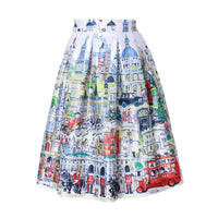 2016 Retro Vintage Ladies Fashion Village Scenery Print High Waist Flared Pleated Midi Skirt Holiday Wear Saia Femininas SK8107 (as picture One Size)