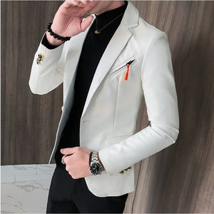 Faux Leather Suit Jacket Men Korean Slim Fit Coat Blazer Men White Red Black Fashion Streetwear Blazer Jackets Male Hot Sale