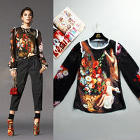 S-5XL Angel Fashion Blouse Jacket Long Sleeved Silk Printing Painting Sexy Coat Plus Size Women 2019 And The New summer Runway