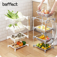 Kitchen Organizer PP Storage Rack Shelf With Movable Basket Bathroom Kitchen Refrigerator Side Shelves 3/4 Layers Fruit Basket
