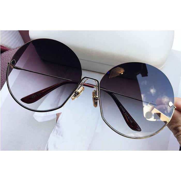 Luxury Brand Vintage Round Sunglasses Women 2019 New Fashion Half Frame Tinted Lens