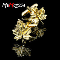 5Pairs/lot Gold Maple leaves Shirt Cufflink for mens gift Brand cuff button wedding cuff link High Quality Blue abotoadura