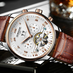 KINYUED Perpetual Calendar Mechanical Skeleton Watches Men Automatic Mens Tourbillon Watch Rose Gold Waterproof Relojes Hombre
