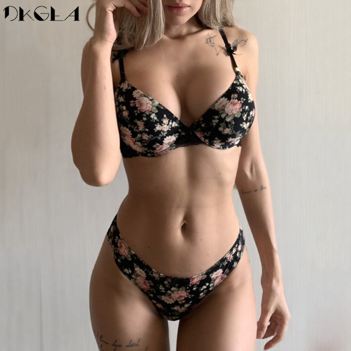 Classic Black Underwear Set Sexy Bras Printing Fashion Push Up Bra Panties sets Thick Cotton