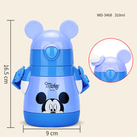 Disney Children's Straw Insulation Cup Leakproof Mickey Stainless Steel Cup Child Cup Portable Baby