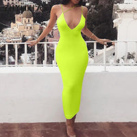 ZHYMIHRET 2019 Summer Neon Color V Neck Sexy Women's Dress Spaghetti Strap Halter Long Dress New Bodycon Vestidos De Festa