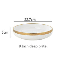 1PCS Emboss White Gold Trim Ceramic Dinner Plate Dish Rice Salad Fruit Noodle Bowl Soup