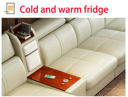 Living Room Sofa real genuine leather sofas salon couch puff asiento muebles de sala canape heating cold and warm fridge USB L