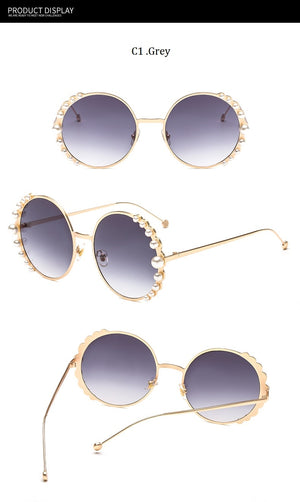 2019  Beads Round Sunglasses Women Fashion Alloy Frame Brand Pearls Designer Sun Glasses For Female Brown Shades UV400 New
