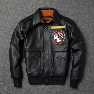 YR!Free shipping.mens plus size genuine leather jacket,classic A2 style cowhide coat.flight bomber jacket,warm thick leather