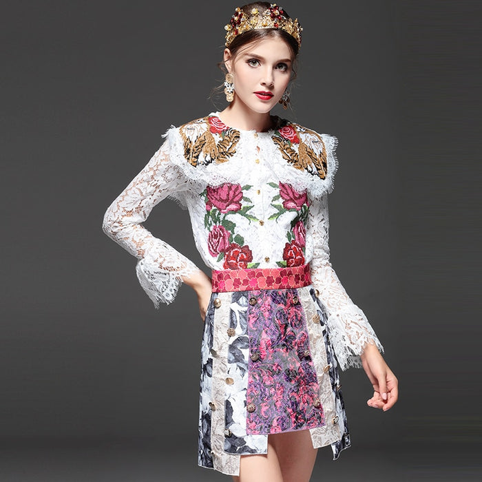 LD LINDA DELLA High Quality Fashion Designer Sets Suit 2 Piece Women Floral Embroidery