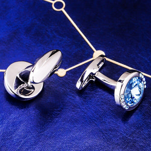 MAISHENOU French Shirt Fashion Cufflinks for Mens Womens Brand Cuff links Buttons with blue crystal High Quality Free Shipping