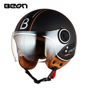 BEON Motorcycle Helmet Chopper 3/4 Open Face Vintage Helmet Moto Casque Casco Capacete Men Women Scooter Motorbike Helmet