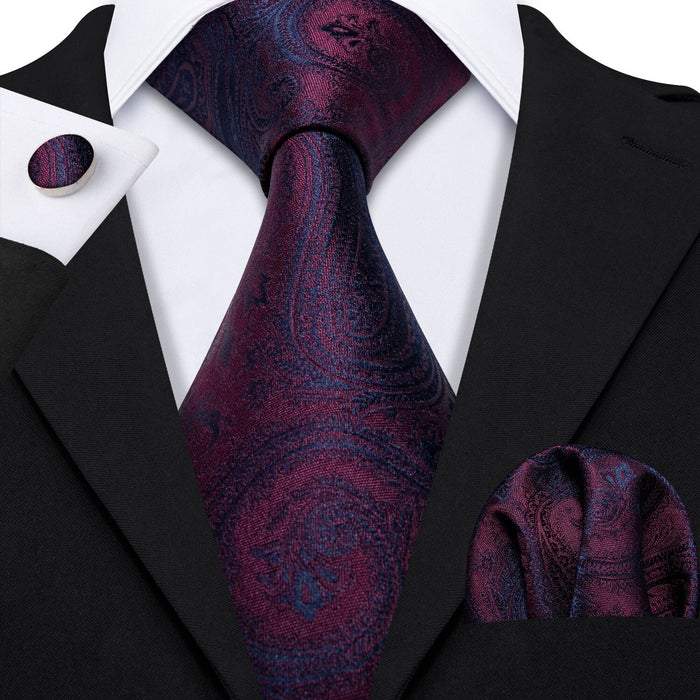 Barry.Wang Classic Designers Purple Paisley Mens Ties 8.5cm Silk Tie Hanky Box Set Gifts