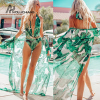 Printed Leaf Green Long Cardigan Beach Cover Up Summer Chiffon Beach Dress Tunic Women Kaftan Beach Wear Pareo Robe De Plage