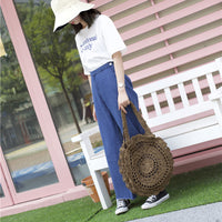 Sun Flower Beach Tote Bag Soft Paper Rope Crochet Round Straw Bag Boho Retro Foldable Shoulder Bag Travel Rattan Bag For Women