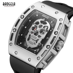 Baogela Mens Fashion Military Silicone Strap Rectangle Dial Skull Face Sport Quartz Wrist Watches BGL1612G-1