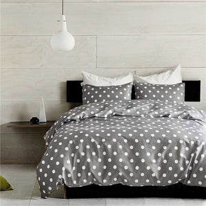 Fashion Polka Dots Bedding Sets Grey Bed Linen Duvet Cover Set Simple Style Bedclothes All Seasons no Comforter no Sheet