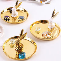 Ceramic Rabbit Jewelry Plate Decoration Ornament Storage Tray Home Accessories Home Decoration Accessories for Living Room