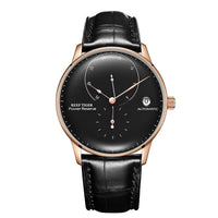 Top Brand Luxury Casual Watches Mens Rose Gold Genuine Leather Strap Automatic