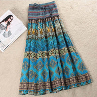 Boho Floral A-line Women's Maxi Skirt Elastic High Waist Sashes Vintage Pleated Womens Skirts