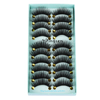 10 Pairs 3D Soft Faux Mink Hair False Eyelashes Natural Messy Eyelash Crisscross Wispy Fluffy