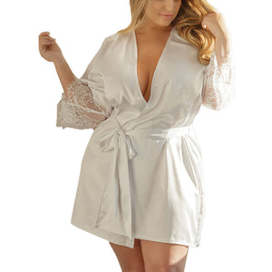 Women sleepwear Sexy Silk Kimono Dressing Gown large size Babydoll Lace Lingerie ladies fancy Bath Robe Nightwear tenu lingerie