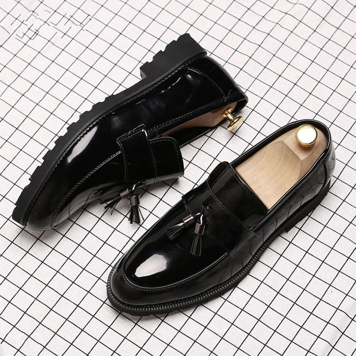LAISUMK Classic Black Patent Leather Wedding Shoes Mens Wingtip Slip-On Loafers Tassel