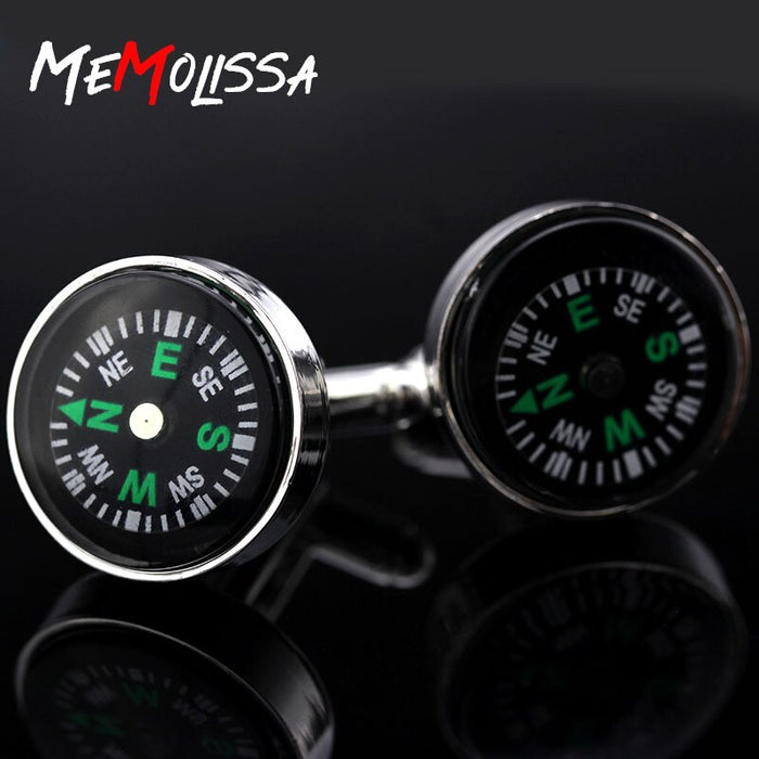 MeMolissa 3 Pairs 2018 new round compass cufflinks men's gift high quality metal