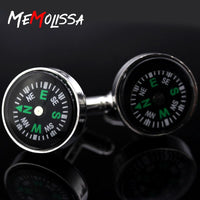 MeMolissa 3 Pairs 2018 new round compass cufflinks men's gift high quality metal cufflinks bouton de manchette men's jewelry