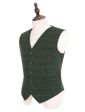2018 Fashion New Plaid Suit Vest For Men Wool Tweed Casual Slim Fit Waistcoat Formal Business Vest For Groomsmen Wedding,