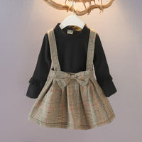 Casual Girl plaid Dress Autumn winter  bow Princess  Dress Long Sleeve Cotton Children kids dresses for girls Clothes 1-7 Years