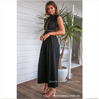 Black Fashion Lace Black Jumpsuit Hollow Out Sexy Sleeveless 2019 Women Clothes  Jumpsuit