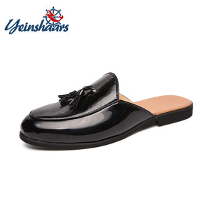 YEINSHAARS 2019 Luxury Brand Patent Leather 38~46 Slippers Men Flip Flops Sandals Classic Mules Slides Outdoor Man Tassel Shoes