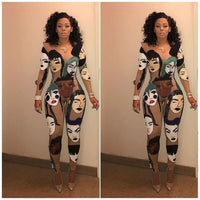 Novelty Human Face Pattern Print Bodysuit Sexy Women Bandage Jumpsuit Long Sleeve Bodycon Rompers Exotic Night Clubwear