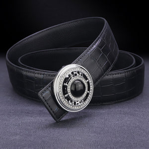 High quality designer belt men genuine leather luxury famous rotate round buckle Crocodile