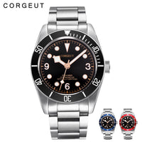 Corgeut Luxury Brand  Mechanical Watch Schwarz Bay Men Automatic Military Sport Swim Clock Leather Mechanical Wrist Watches