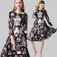 Runway Fashion Dress 2019 Spring Autumn New Fashion Women's Slim Long Sleeve O-Neck Palace Print Vintage Midi Dress With Blet