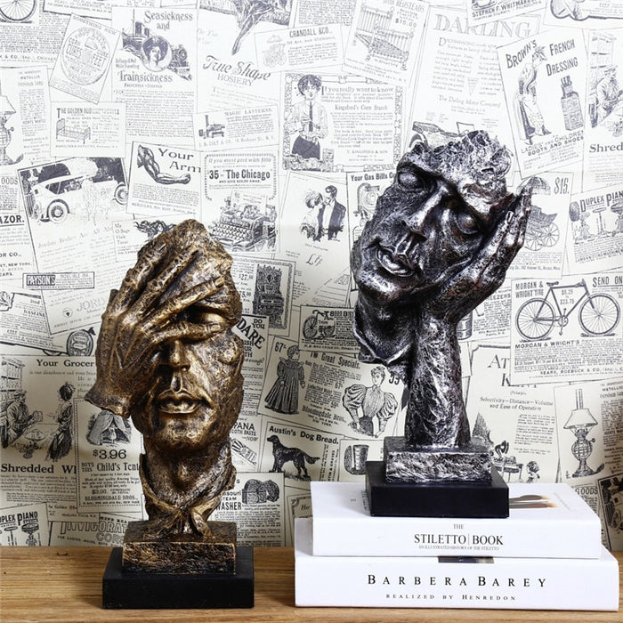 Retro Creative Abstract Characters Statue Do Not Listen Watch Sculpture Home Decoration