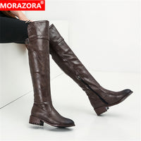 MORAZORA 2020 hot sale over the knee boots women pu retro zip autumn winter boots low heels casual shoes woman thigh high boots