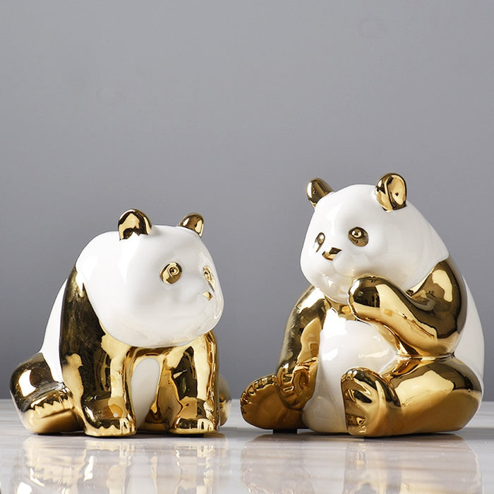 Golden Ceramics Panda Crafts Decoration Creative Parlor Desktop TV cabinet Home Bedroom