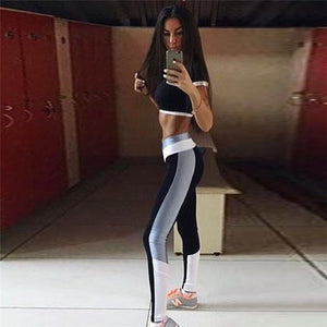 Sexy Patchwork Sport Sets Jogging Suits For Women Fitness Wear Sports Shirt+Yoga Pants Gym Clothing Quick Dry Dancing Suit 2019