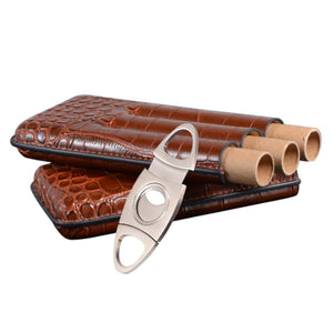Leather Cigar Tube Case With Stainless Steel Cutter Portable Brown Crocodile Pattern Storage Box Easy To Carry Quick Delivery