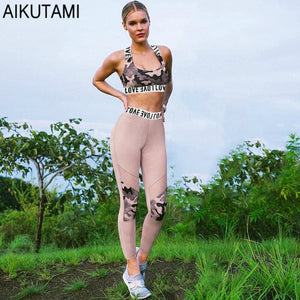 Love Letter Print Workout Set Yoga Clothing Sport Bra Top Chest Pad Leeging Women Fitness Clothes Gym Sport Suit Woman Gym Wear