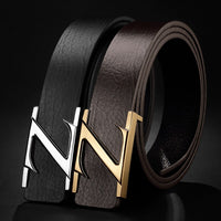 Men's Leather Belt Cowhide Letters Buckles Girdle Men's Korean Version of the Trend Belt.
