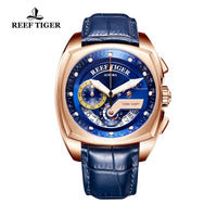Reef Tiger/RT Mens Sport Watches Luxury Rose Gold Waterproof Military Watches Genuine Leather Strap Quartz Watches RGA3363